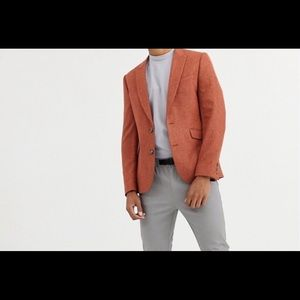 slim blazer in rust with texture